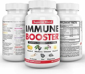 Herbal Immune Booster Support Supplement 60 Caps Made in USA (Value $25)