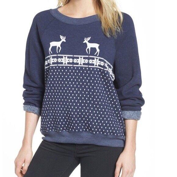 NWT  wildfox navy reindeer sweatshirt (XS)