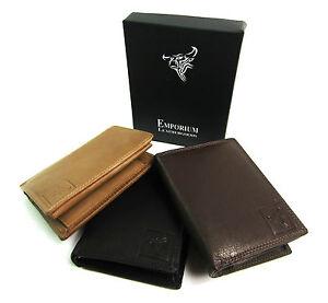 Da Uomo alta qualità in vera Pelle Nera Portafoglio ID Porta carte di credito Custodia Scatola Regalo