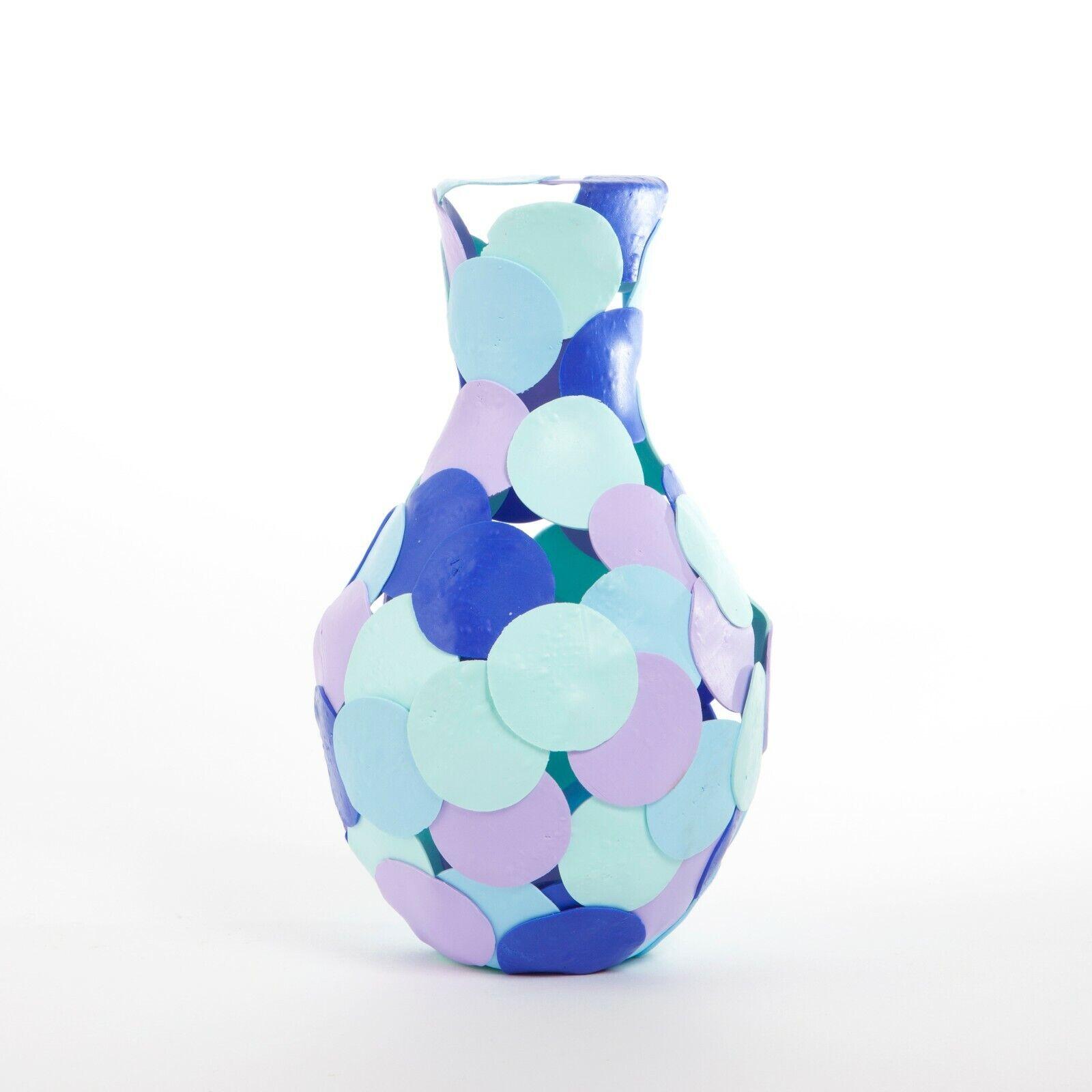 Contemporary Handmade Fimo Vase, Blau, Light Blau, Lilac