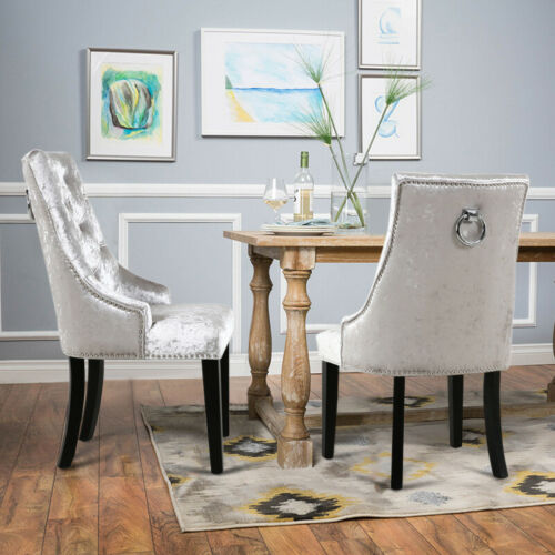 Silver Grey 2/4X Ice Velvet Upholstered Dinning Chair Bedroom Cafe Office Chairs