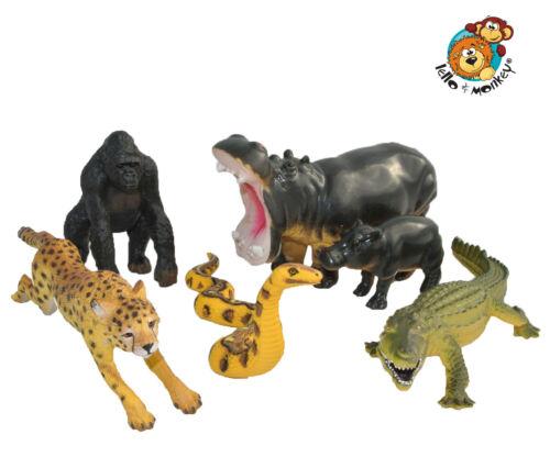 Wild Zoo Safari Animali Giocattoli Figure plastica solida Set di 6 Boxed-UK importatore