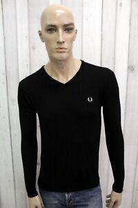 FRED-PERRY-Maglione-Uomo-Taglia-S-Lana-Merino-Nero-Casual-Pull-Pullover-Sweater