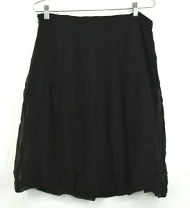 Allison-Taylor-Women-039-s-100-Silk-Black-Knee-Length-Career-Casual-Skirt-Size-10