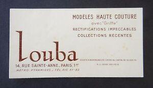 Ancienne Carte De Visite LOUBA Rue Sainte Anne