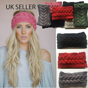 Uk Womens Knitted Ear Warmer Headband Crochet Turban Flower Winter