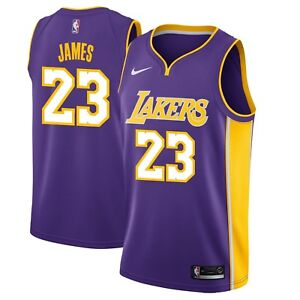 new concept 73ccb cbc99 Details about Nike NBA Los Angeles Lakers LeBron James #23 Swingman  Statement Edition Jersey