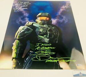 Steve-Downes-Jen-Taylor-signed-METALLIC-16X20-photo-Master-Chief-Cortana-Halo-13