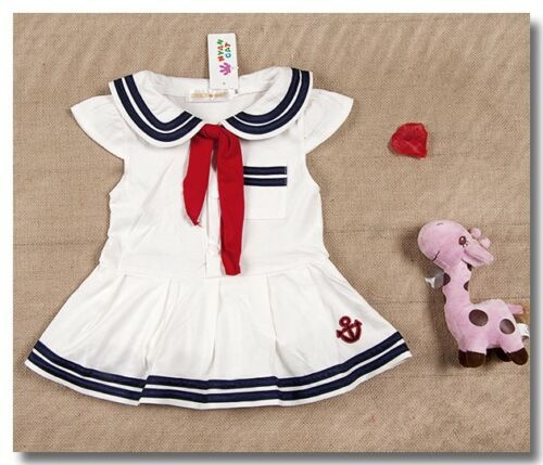 Toddler Baby Girls Sailor Costume Fancy Dress Romper Outfit Clothes Sets 0-18M