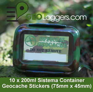 10-x-NEW-GEOLoggers-Sistema-Food-Geocache-Container-Camo-Stickers-WATERPROOF