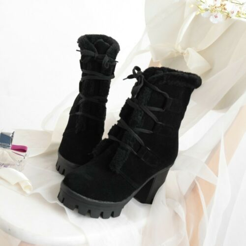 2017 NEW Women Winter Ankle Boots Chunky High Heels Platform Lace Up Punk Shoes