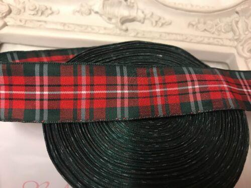 1 Mètre Rouge Vert Tartan Plaid Imprimé ruban 22 mm Gâteaux Nœud mannequin
