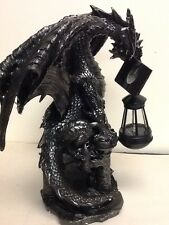 Gothic Large Dragon Holding With Solar LED Light Garden Path Lamp Patio Figurine