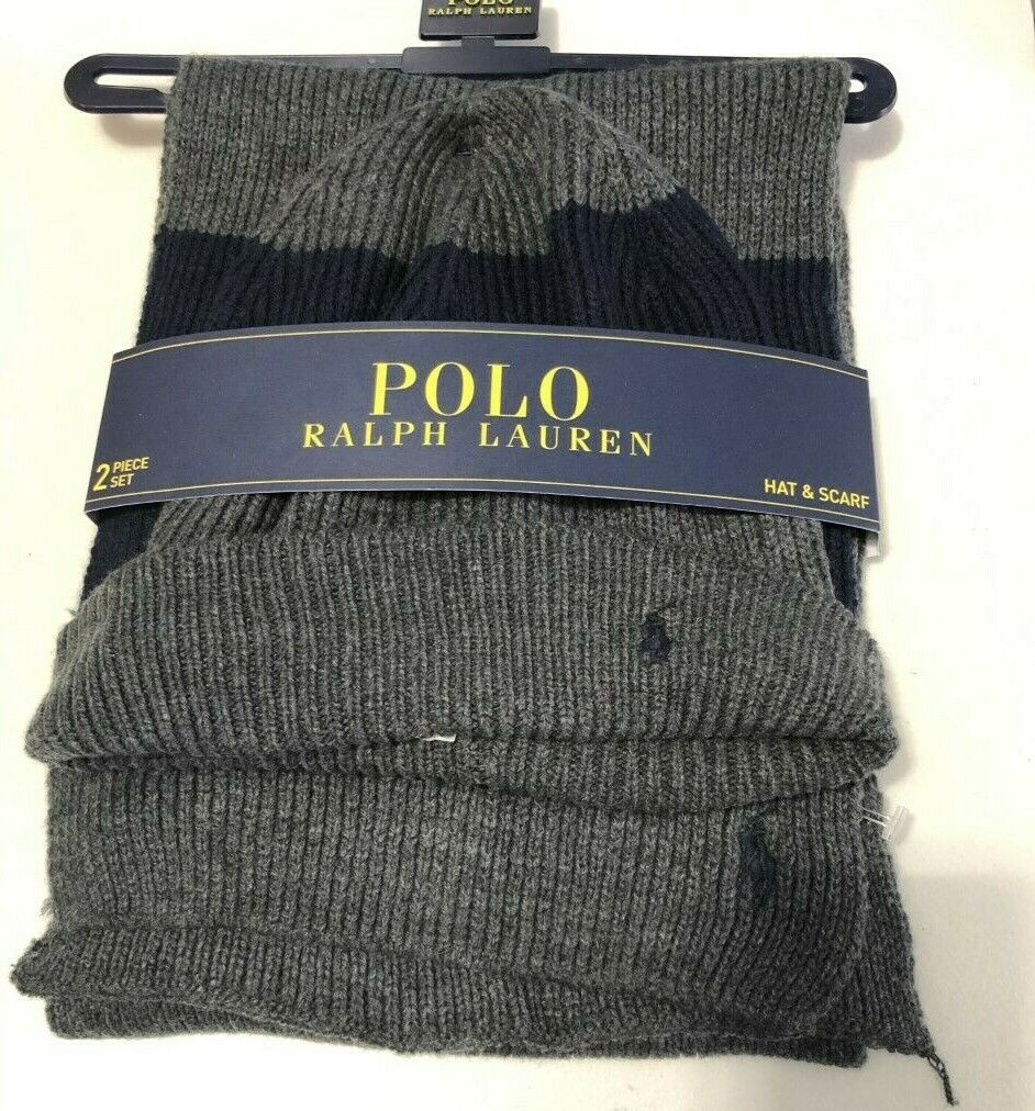 Polo Ralph Lauren Men's Charcoal Gray Navy Wool Blend Ribbed Hat & Scarf Set