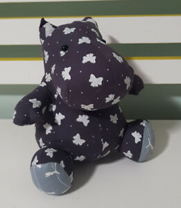 HIPPO-PLUSH-TOY-SOFT-TOY-ABOUT-18CM-TALL-HANDMADE-BOW-FABRIC-PUMA-FABRIC