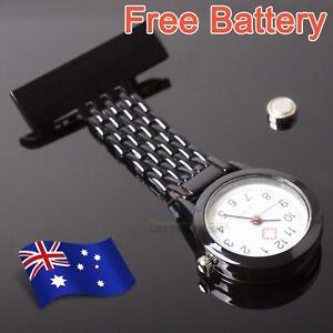 Black-Metal-Nurse-Chain-Brooch-Fob-Watch-Nursing-Nurses-Clip-on-Pocket-Xmas-Gift