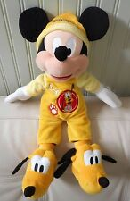 "Disney Parks MICKEY MOUSE Goodnight PLUTO Plush 18"" Stuffed Animal Toy Pajamas"