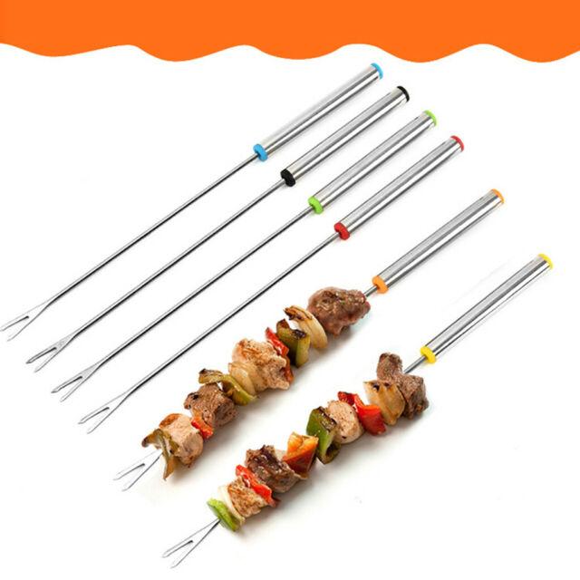 Metal Barbecue Skewers 35cm BBQ Food Meat Kebab Grill Meat Cooking Steel Sticks
