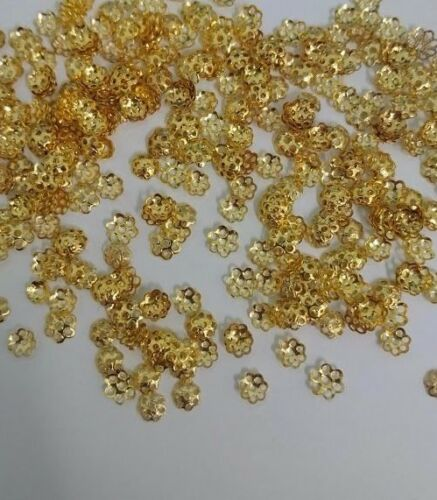 100 x 7mm Gold Plated Fluted End Bead Caps Crafts DIY Jewellery Making Findings