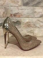 Christian Louboutin Follies Lace 100 Gold Mesh Chain Heel Pump 35 $795