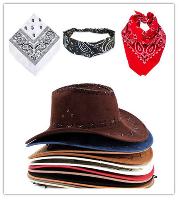 Adult Cowboy Set Cowboy Hat And Bandana For Fancy Dress up Black /White / Red