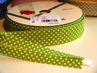 4m 18mm Lime with White Polka Dots Bias Binding, Edging, Trim