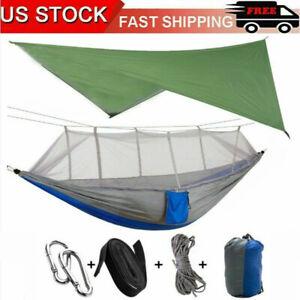Camping Hammock Mosquito Net Hanging Bed +Waterproof Rainfly Tent Tarp Shelter