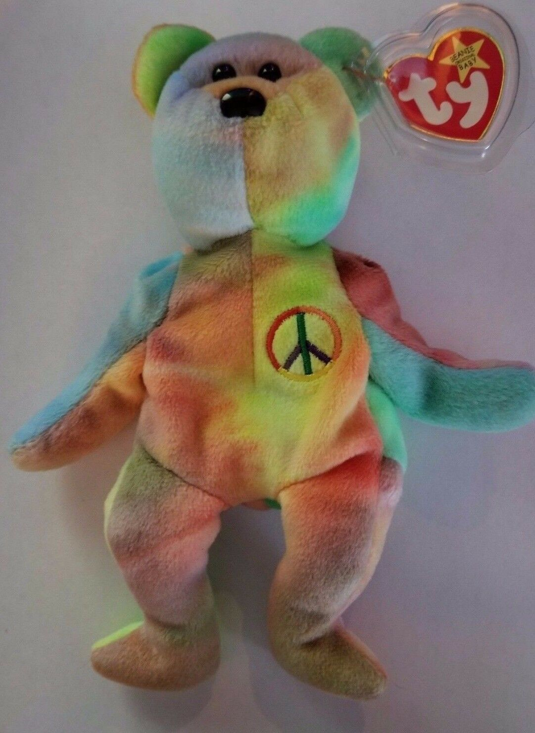 e21c8fb9eb8 VERY RARE Ty Beanie Baby Peace with Bear with Peace Multiple Tag Errors  1747db. ""