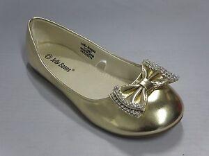 Girl-Flats-w-Rhinestone-Bow-Yoyo-Kid-Flower-Girl-Pageant-Gold-Silver