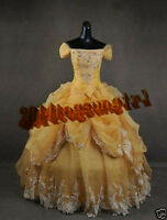 New Plus Size Formal Belle Gown Dresses Beauty Beast Belle Costume Adult Cosplay