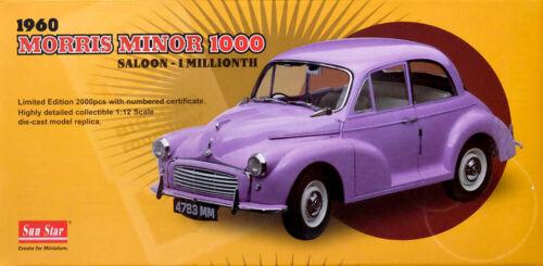 1960 MORRIS MINOR 1000 SALOON 1 Millionth Purple 1:12 SUN STAR 4783