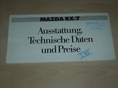 62000) Mazda RX-7 Preise & Extras - technische Daten Prospekt 07/1983