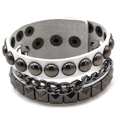 Punk Style Metal Stud Women Men Leather Belt Buckle Bracelet Cool Rivet Band