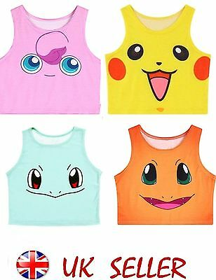 Crop Top Pokemon Vest One Size 6-10 Pikachu, Charmander, Jigglypuff, Squirtle