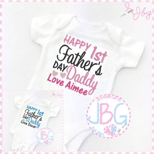 Personalised 1st fathers day baby vest embroidered onsie clothing image is loading personalised 1st father 039 s day baby vest negle Choice Image