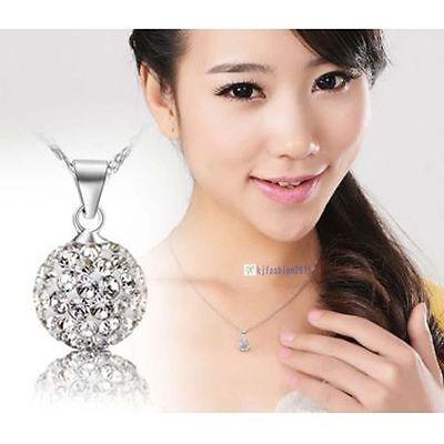 Fashion Women's 925 Sterling Silver chain crystal rhinestone Necklace Pendant KJ