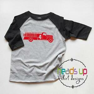Image Is Loading Firetruck 4 Shirt Toddler Boy Girl Fourth Birthday