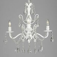 Wrought Iron and Crystal White 4-light Chandelier Pendant