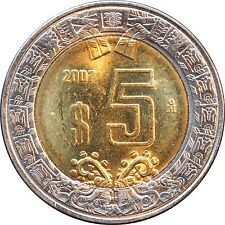 Mexico, 5 Pesos 2007 Bimetallic. KM# 605 Brilliant Uncirculated (item1).