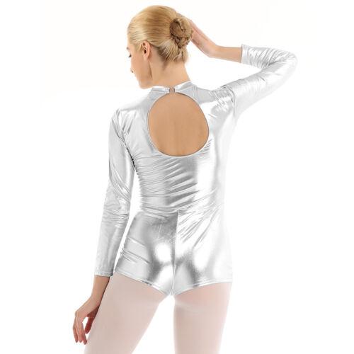 Womens Lady Metallic Long Sleeves Ballet Dance Costume Leotard Unitards Bodysuit