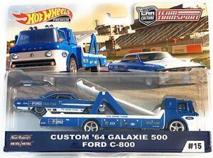 Hot-Wheels-2019-Team-Transport-Custom-039-64-Calaxie-500-amp-Ford-C-800-1-64-Diecast