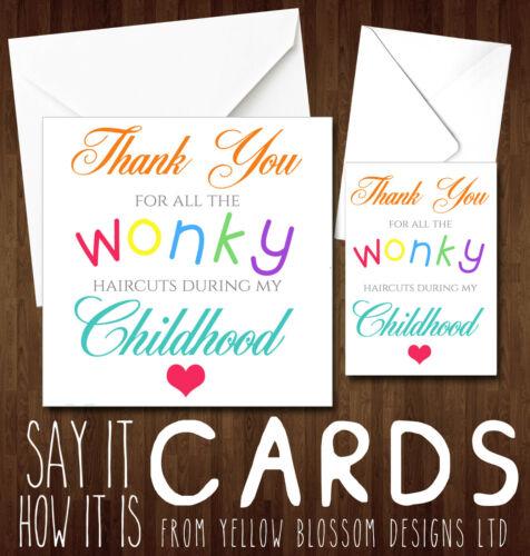 Cheeky Funny Joke Mother/'s Card Birthday Christmas Mum Wonky Haircuts Dad Banter