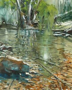 Landscape-Painting-Watercolor-Original-Lake-Water-Countrysides-Nature-15x11-in
