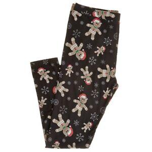 10b01013b7b4e8 Womens Gingerbread Man Leggings S M L XL 1X 3X Plus Black Christmas ...