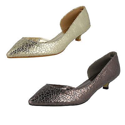 Mujer Sabana Gatito Tacón De Salón Zapato Disponible En Dorado & Estaño Estilo -