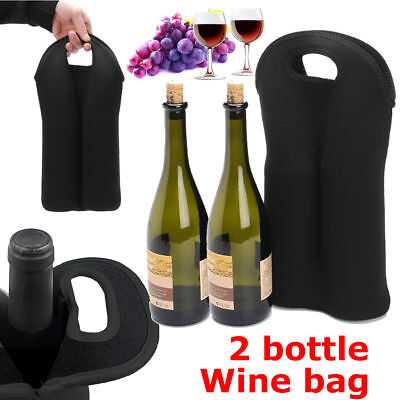 2 Bottle Drinks//Wine//Beer Thermal Insulated Neoprene Bag Tote Carrier Cool Gift
