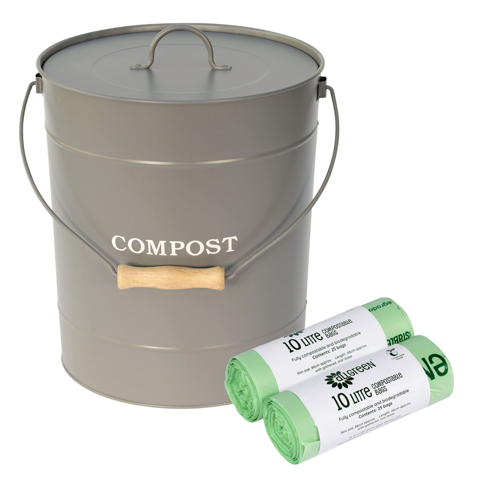 Charcoal grau 10L Compost Caddy Bin for Food Waste&50xCompostable Bags