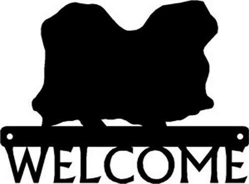 """Breed Pekingese Dog Silhouette Metal Art Welcome Sign Wall Plaque 12/"""""""