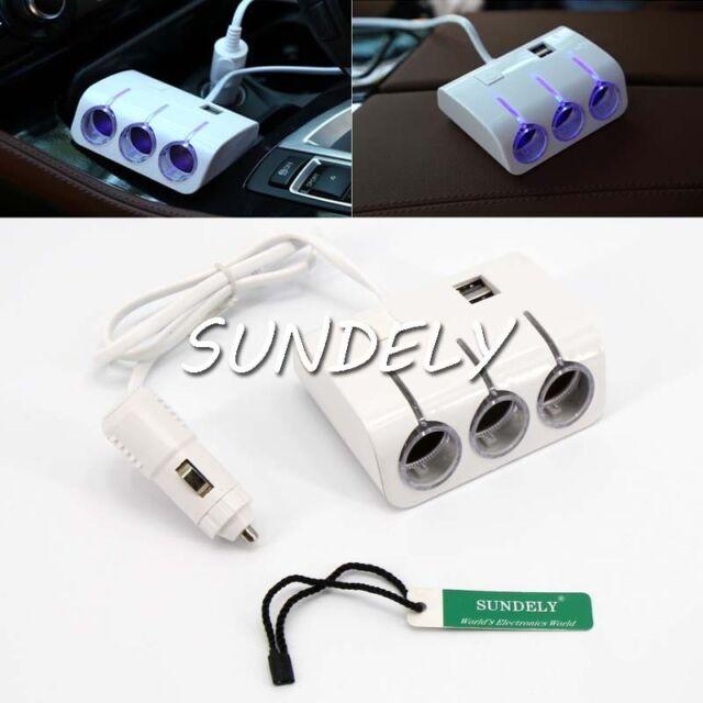 FAST LED 3 Way Car Cigarette Lighter Socket Splitter USB Charger Adapter 12-24V