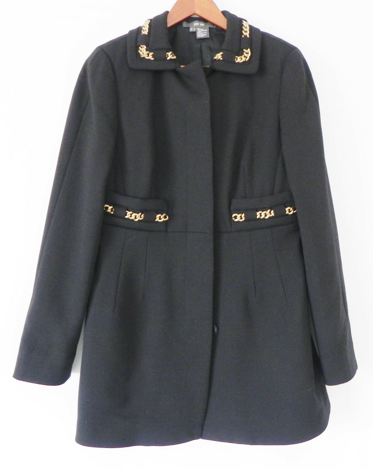 Perse Coat Navy bluee Wool  God Tone Chain Trim Slim Cut Size 6